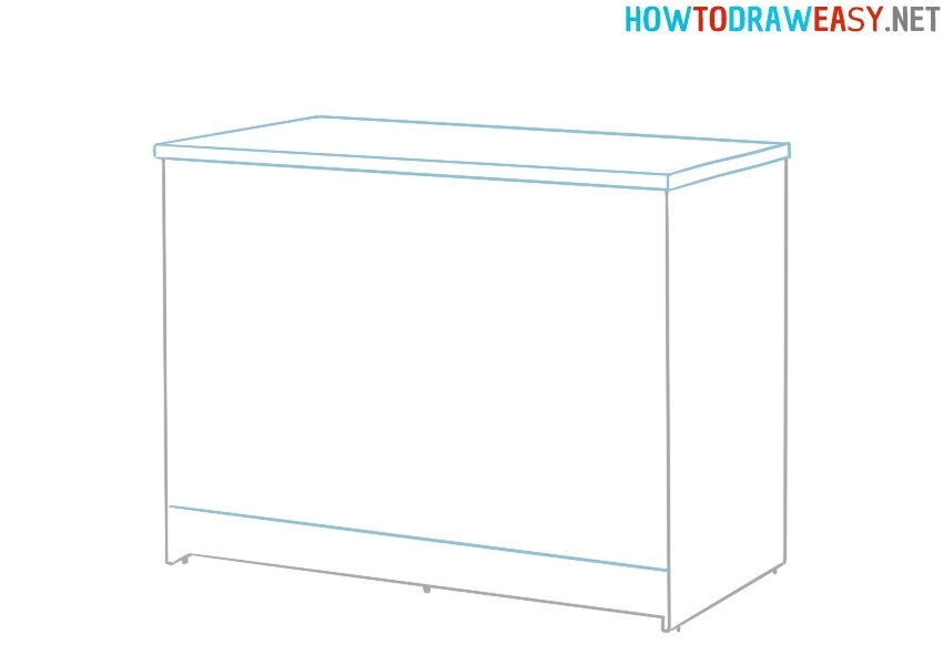 How to draw a Kitchen Cabinet for kids
