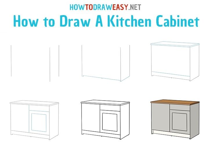 How to draw a Kitchen Cabinet - step by step drawing lesson