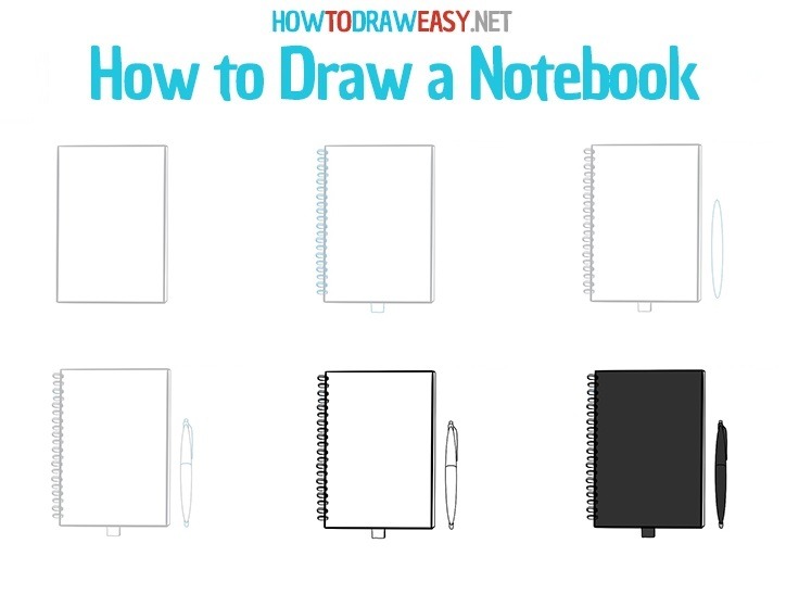 How to draw a notebook - step by step drawing lesson