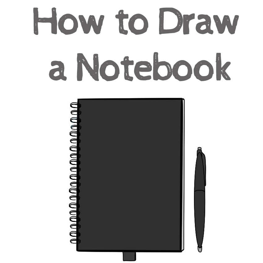 How to draw a notebook step by step