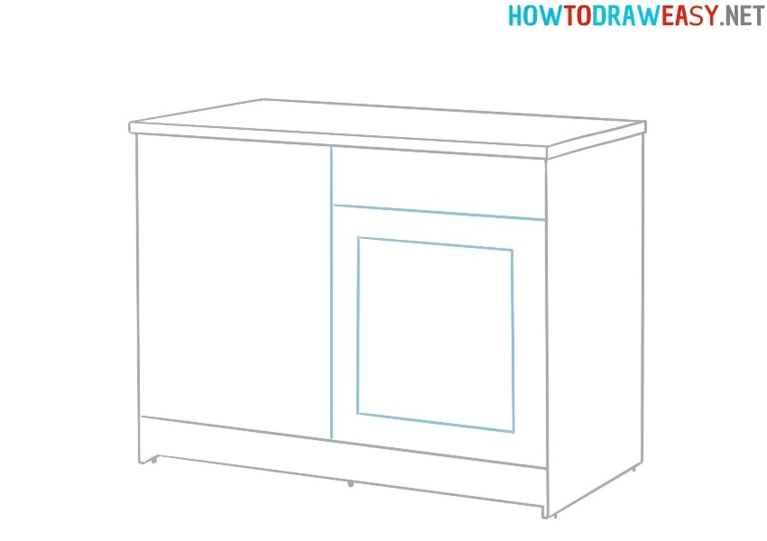 Learn how to draw a Kitchen Cabinet