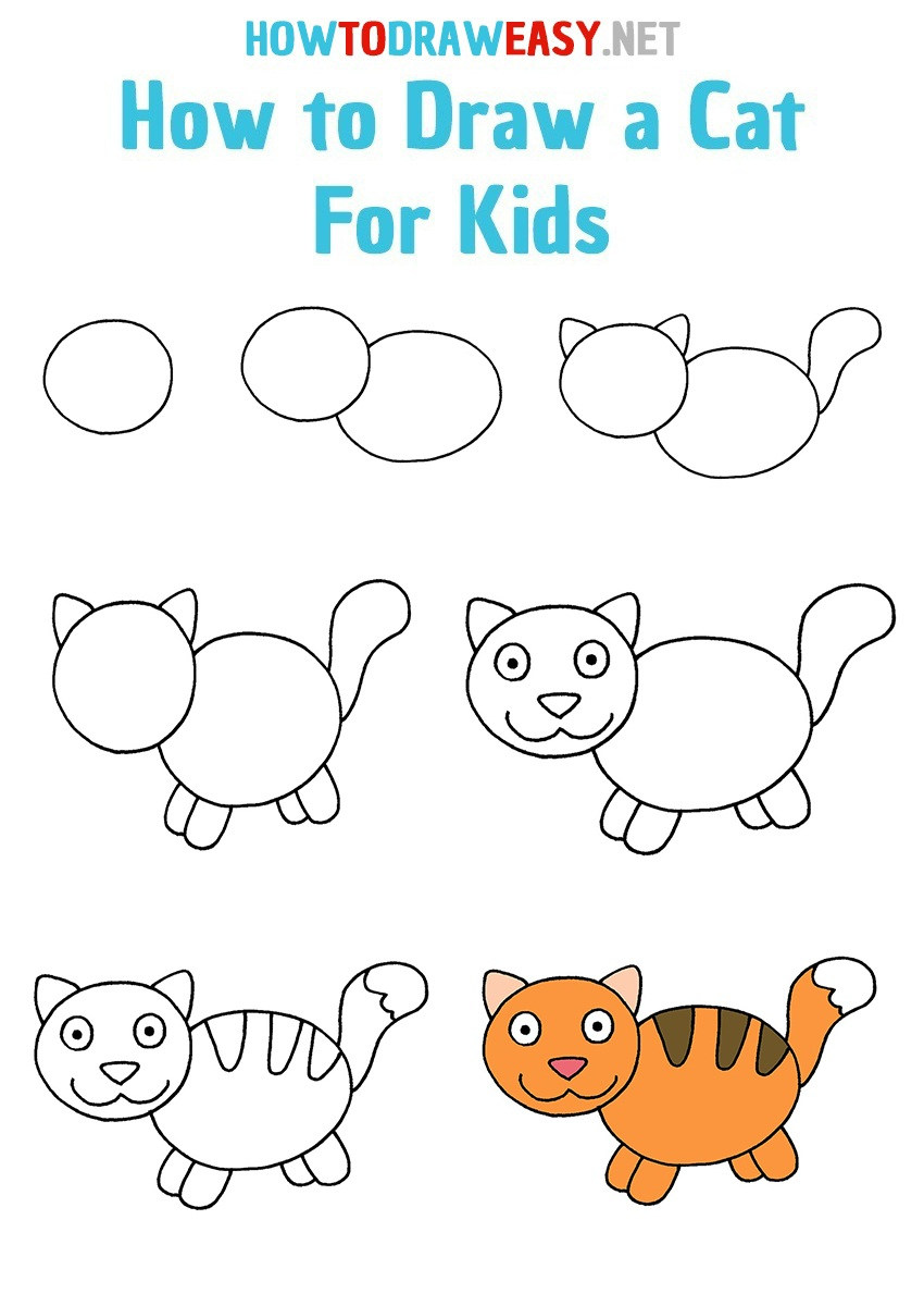 How to Draw a Cat For Kids Step By Step