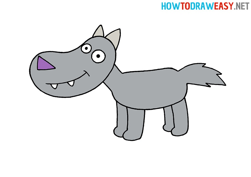 How to Draw a Wolf For Kids Tutorial