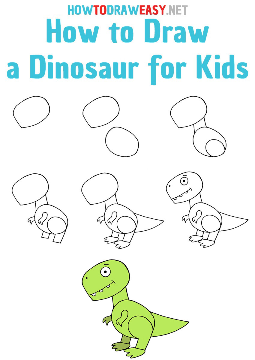 How to Draw a dinosaur step by step for Kids