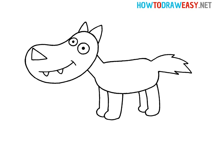 Wolf for Kids drawing tutorial