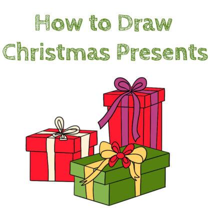 christmas present drawing tutorial