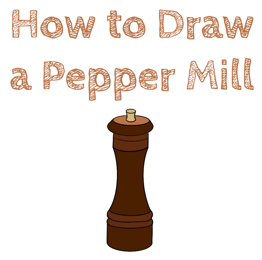 how to draw a pepper mill for beginners