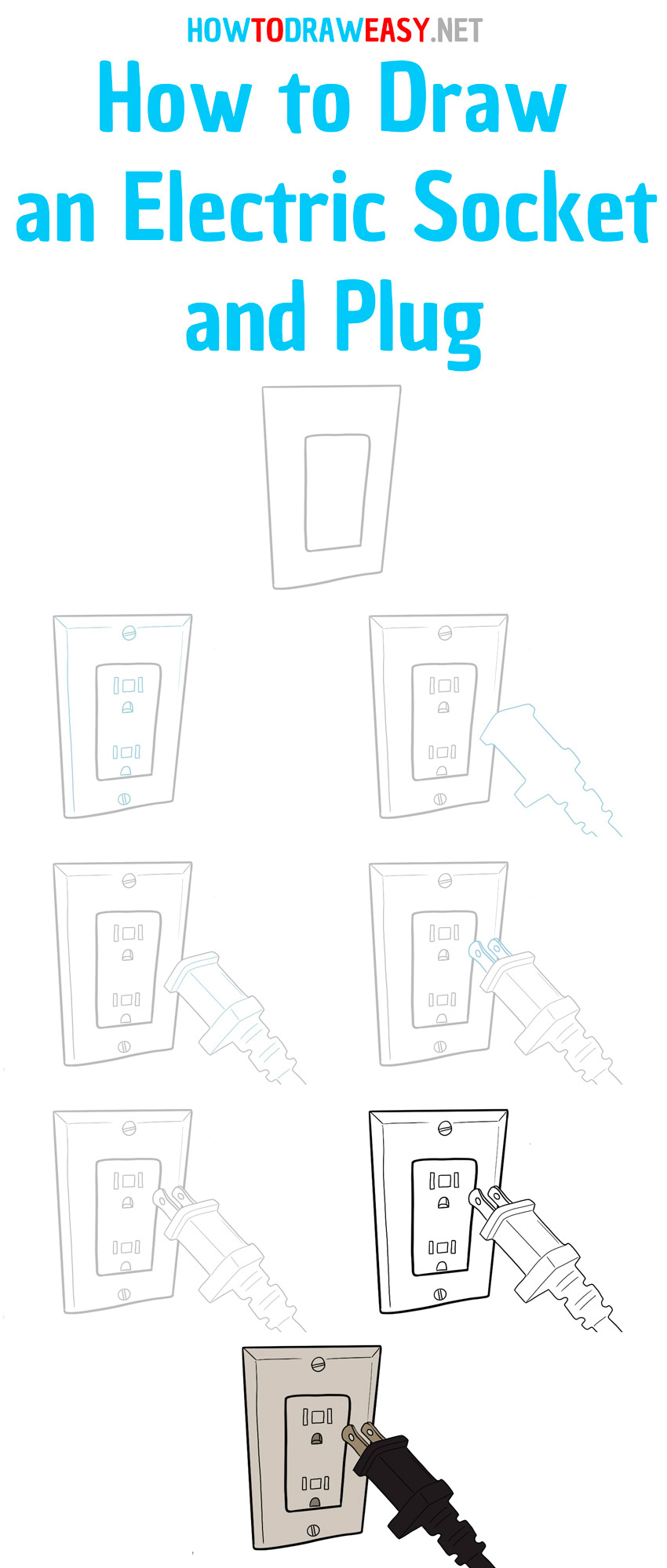how to draw an electric socket and plug step by step