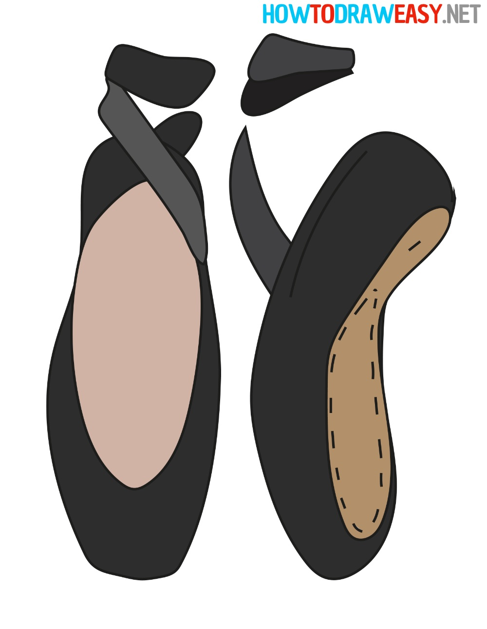 How to Draw Ballet Shoes Easy