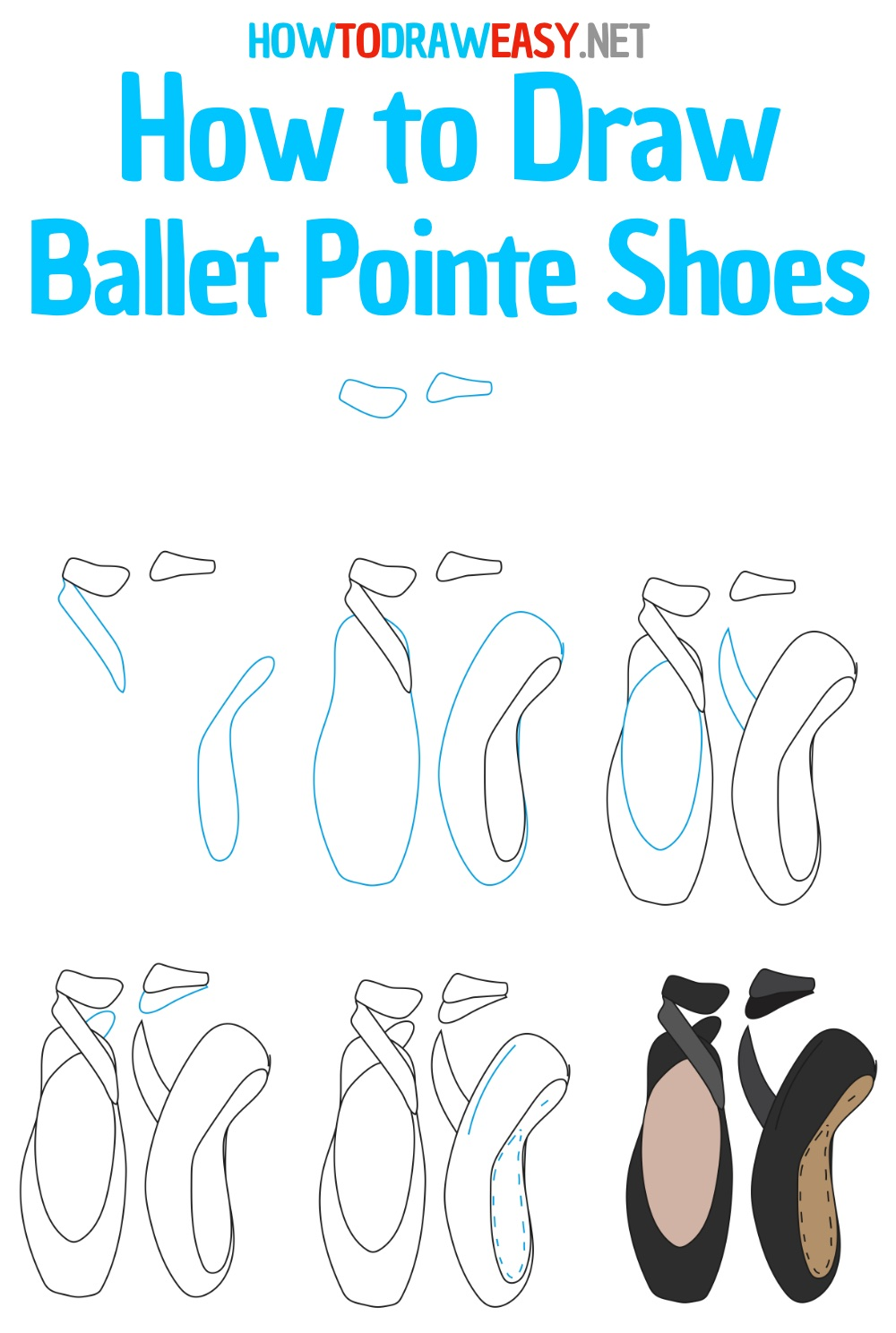 How to Draw Ballet Shoes Step by Step