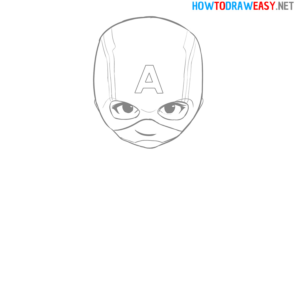 Captain America Head How to Draw