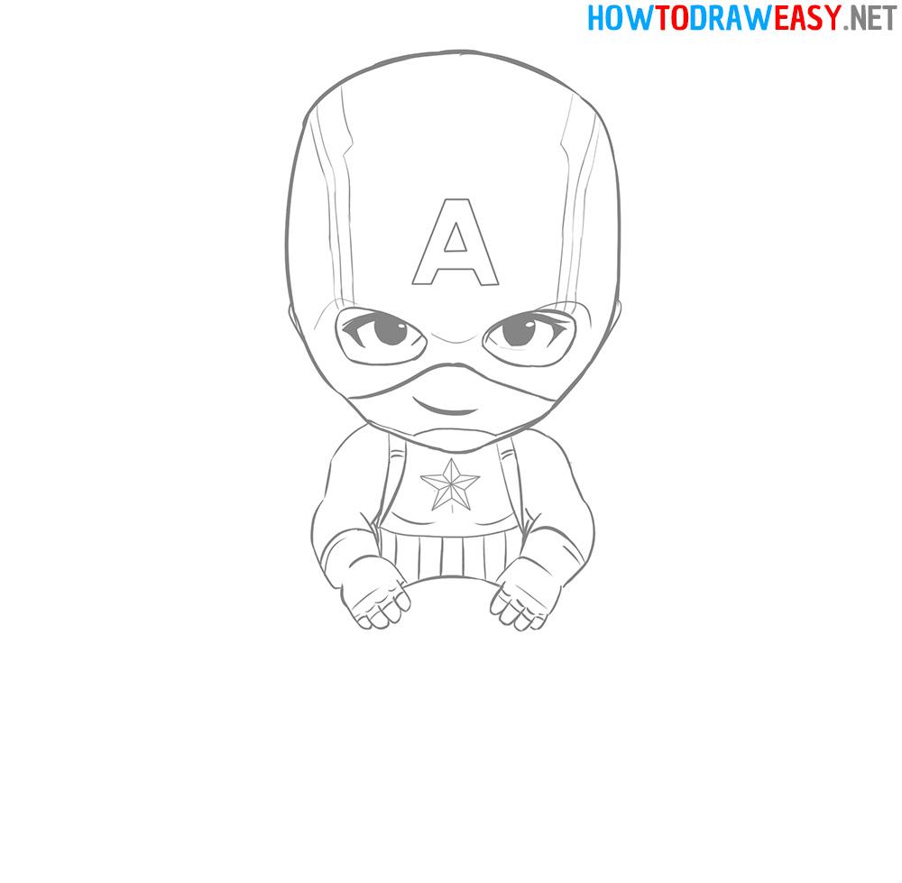 Cartoon Captain America Drawing Tutorial