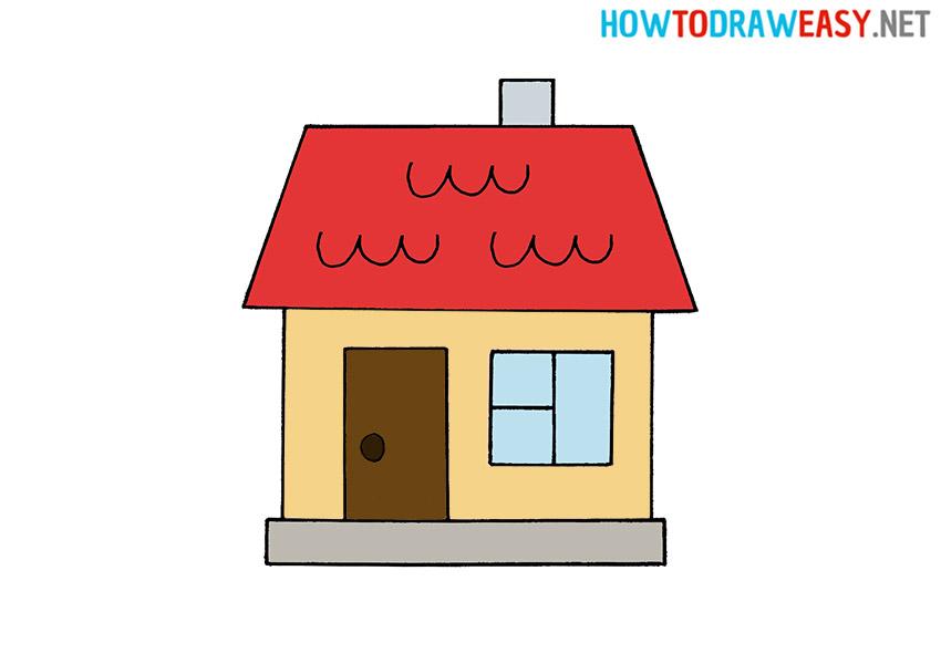 Cartoon Drawing a House