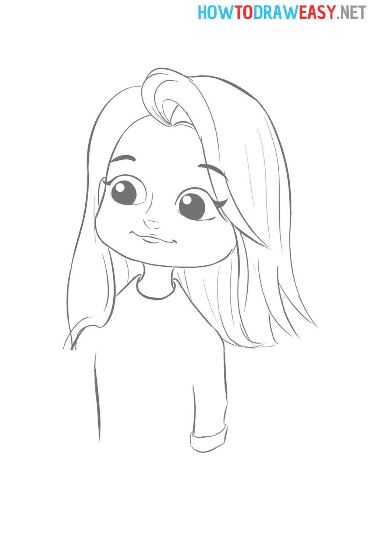 Cartoon Girl Draw Easy