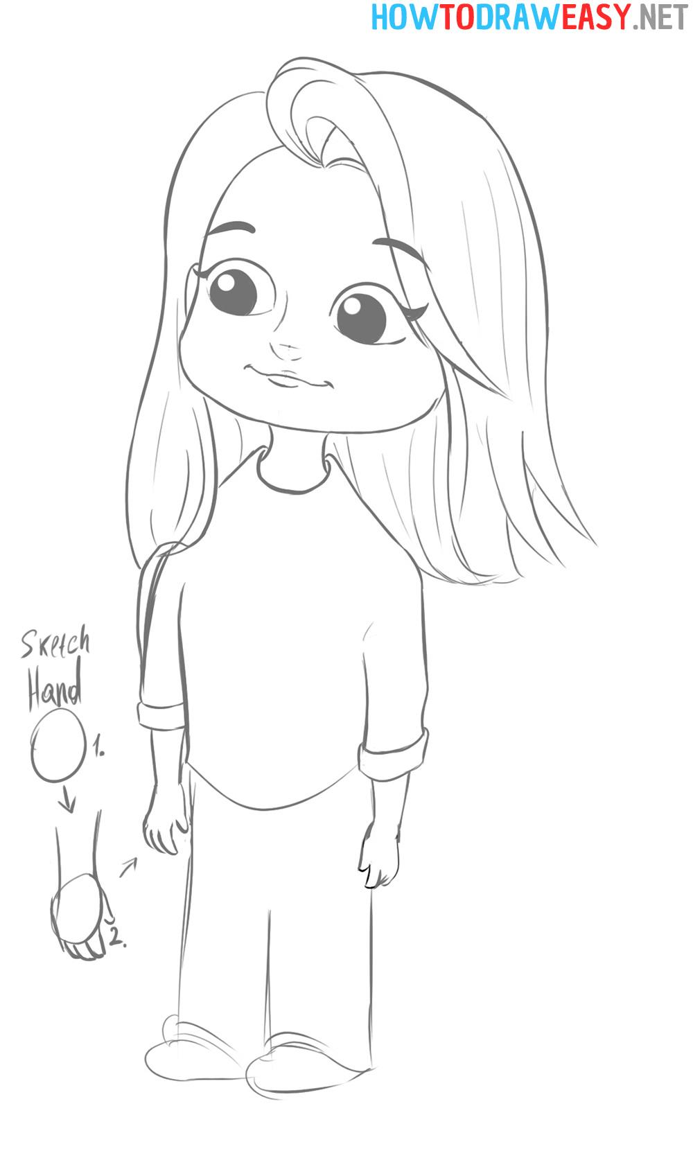 Cartoon Girl Sketch Hand