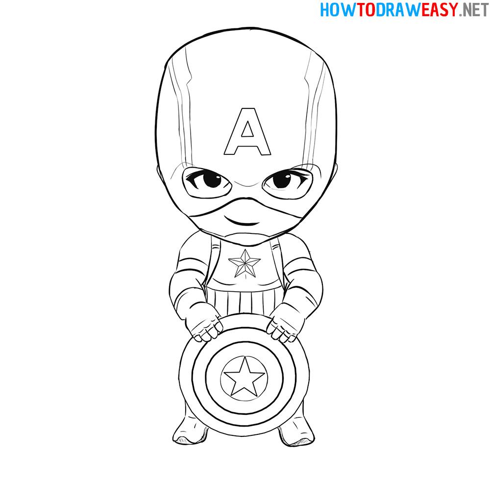 Chibi Captain American Drawing Tutorial
