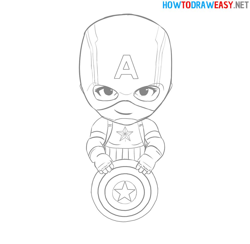Draw Captain America Chibi