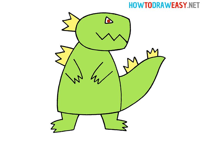Drawing Cartoon Godzilla