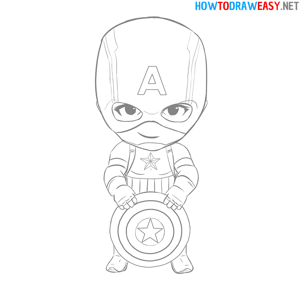 How to Draw Chibi Captain America Easy