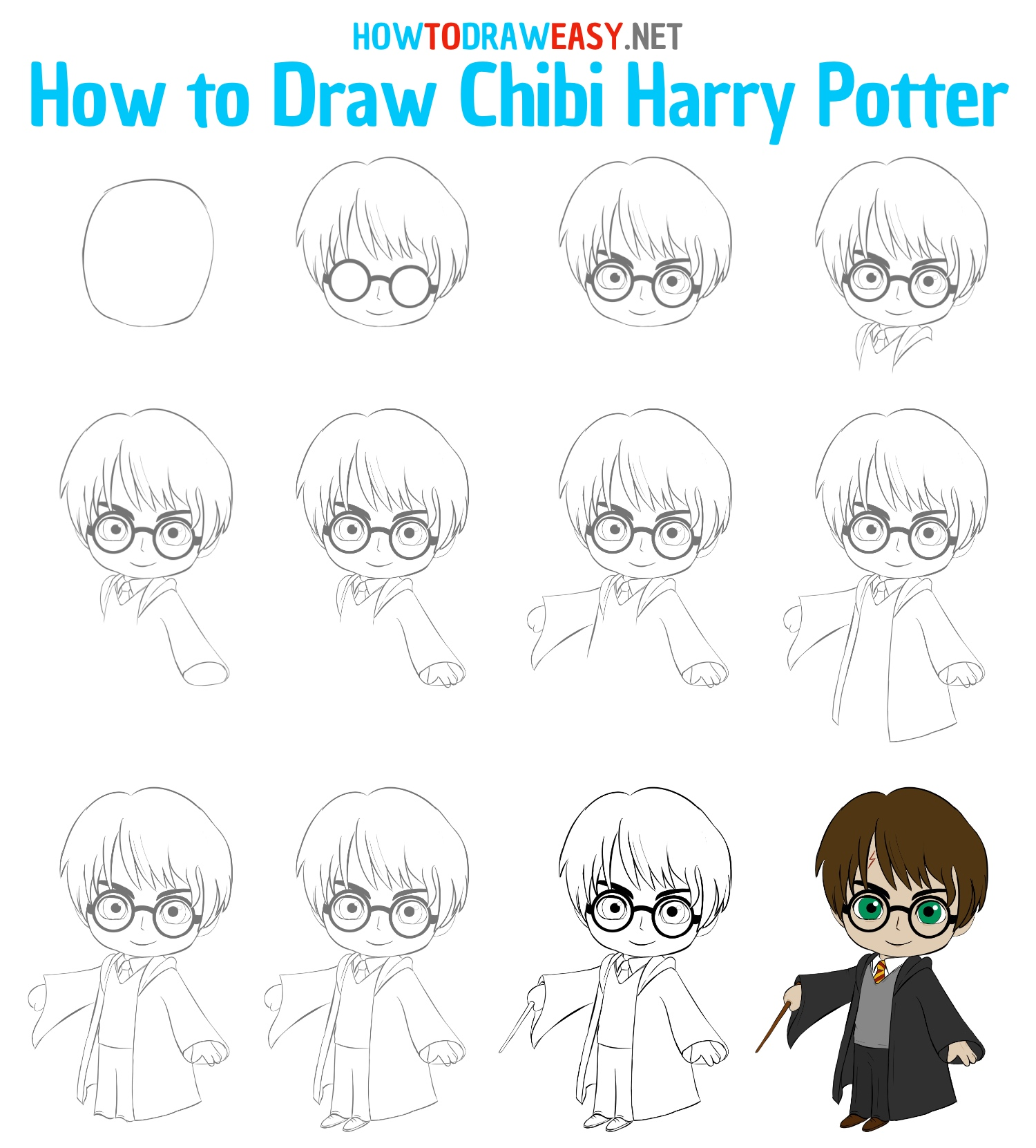 How to Draw Chibi Harry Potter Step by Step