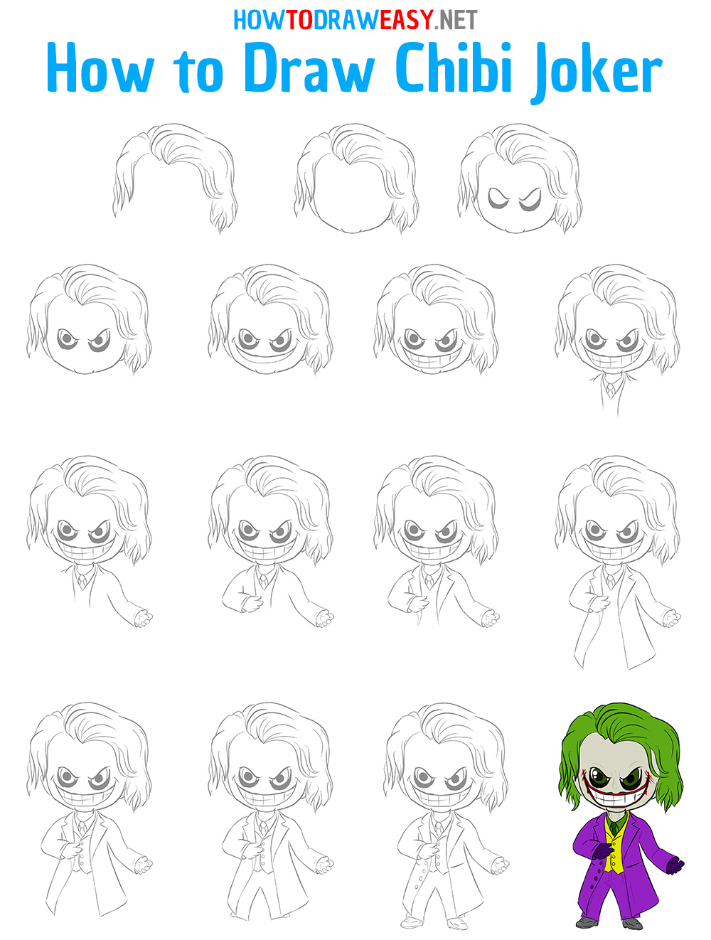 How to Draw Chibi Joker Step by Step