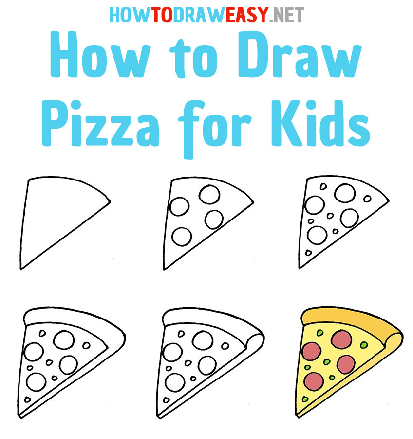 How to Draw Pizza for Kids Step by Step