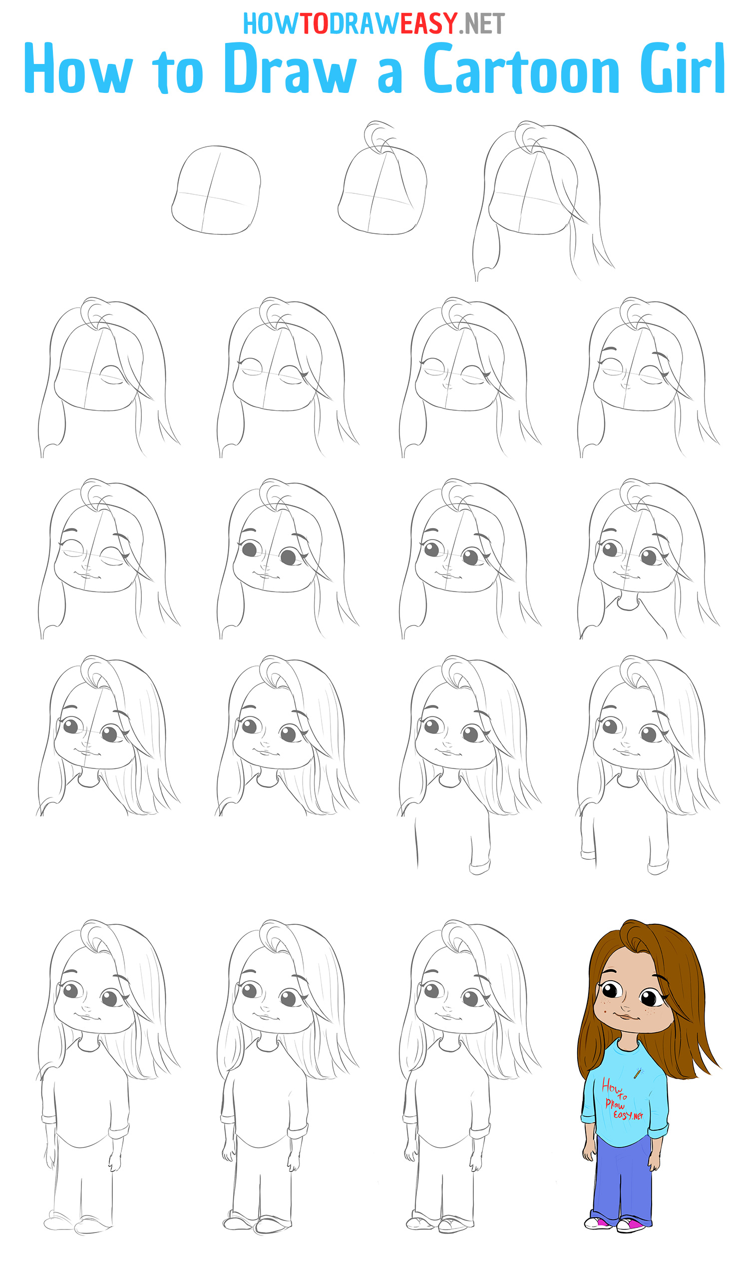 How to Draw a Cartoon Girl Step by Step