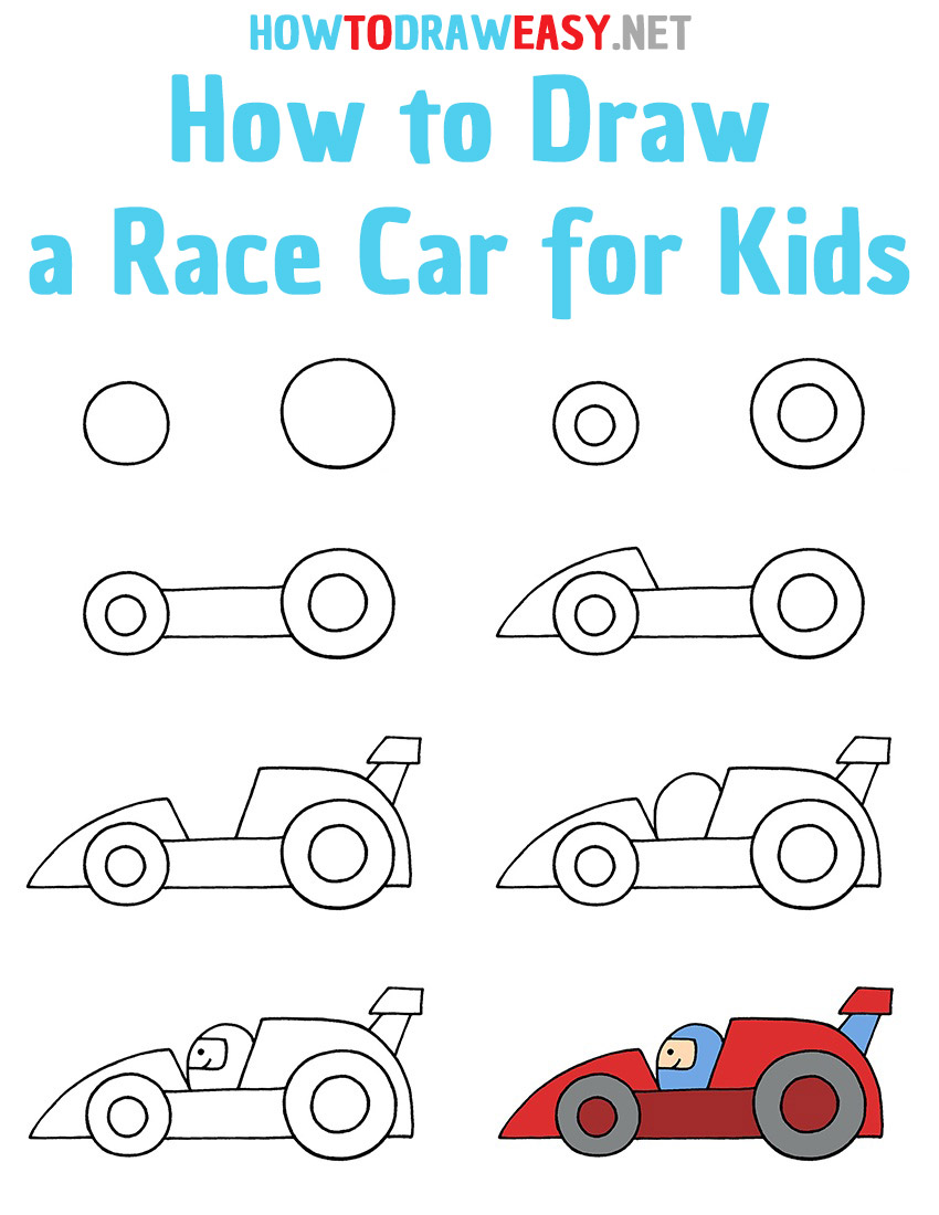 How to Draw a Race Car Step by Step