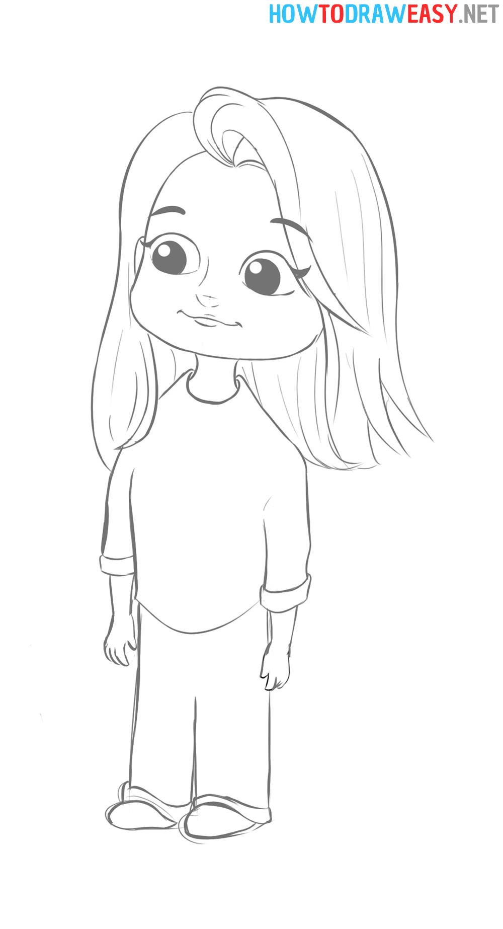 How to Sketch Cartoon Girl