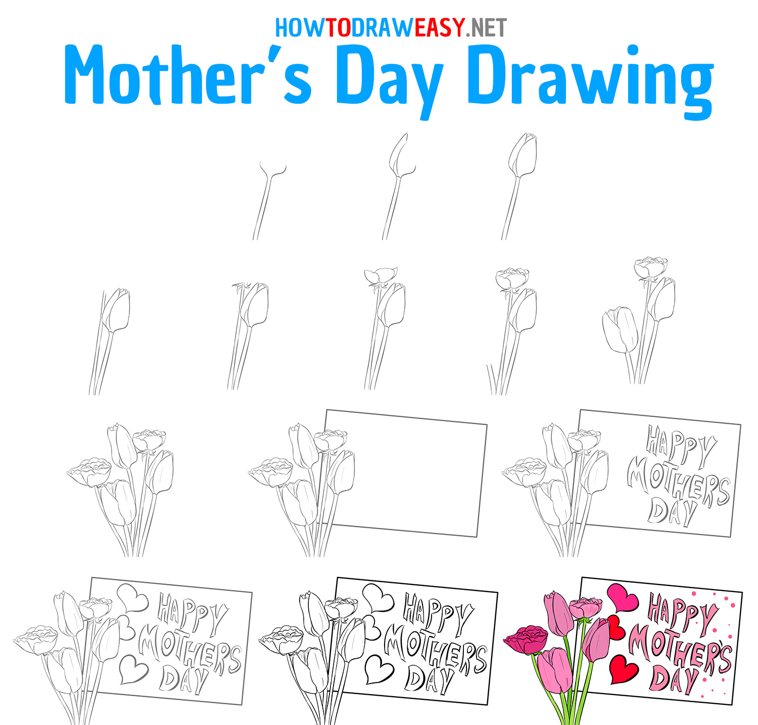 Mothers Day Drawing Step by Step