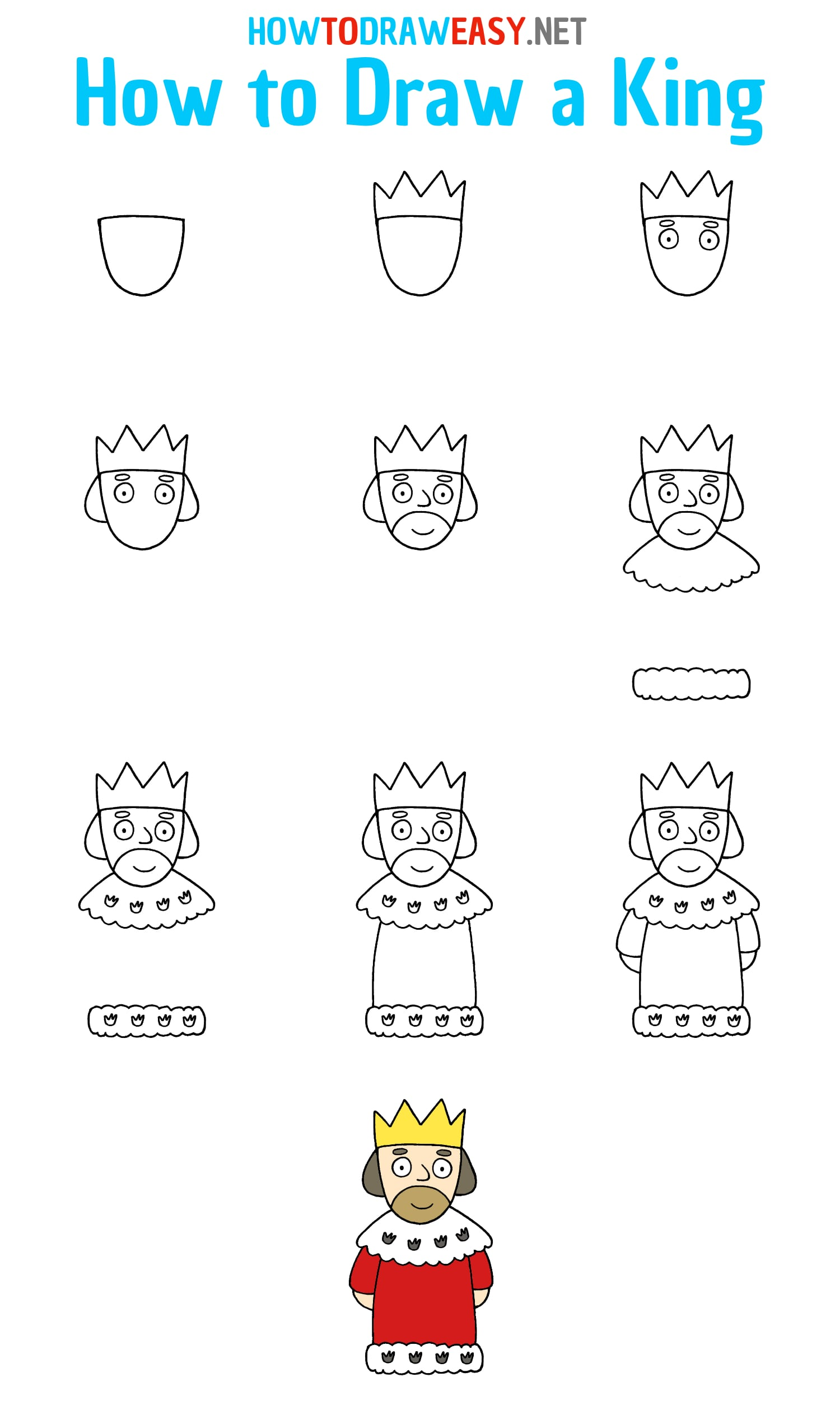 How to Draw a King Step by Step