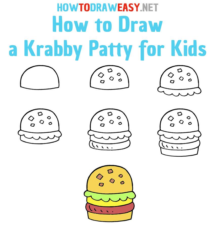 How to Draw a Krabby Patty Step by Step