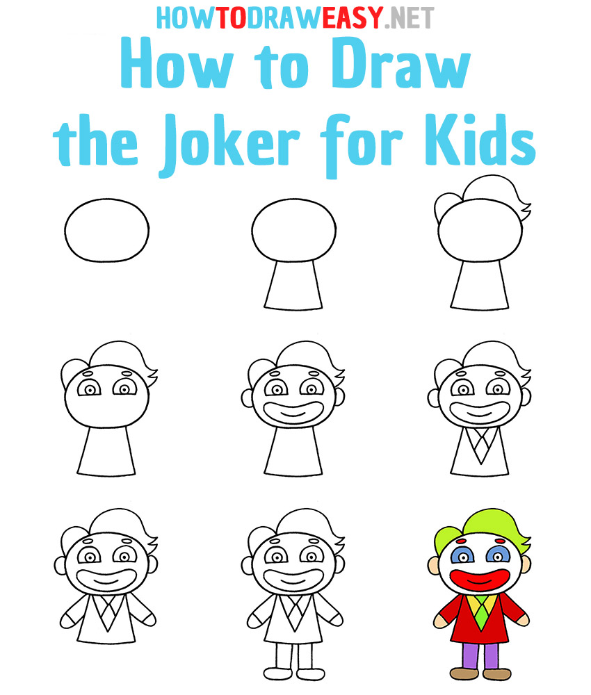 How to Draw the Joker for Kids Step by Step