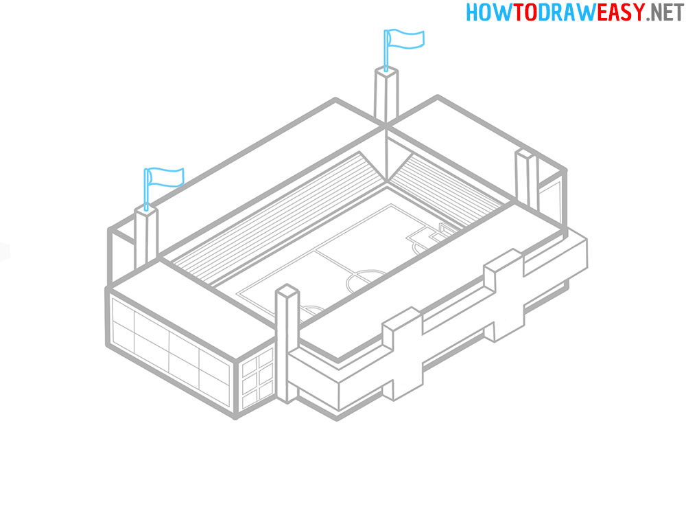 How to Draw a Soccer Stadium Easy