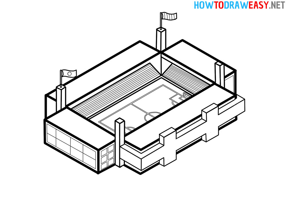 How to Draw a Stadium Easy