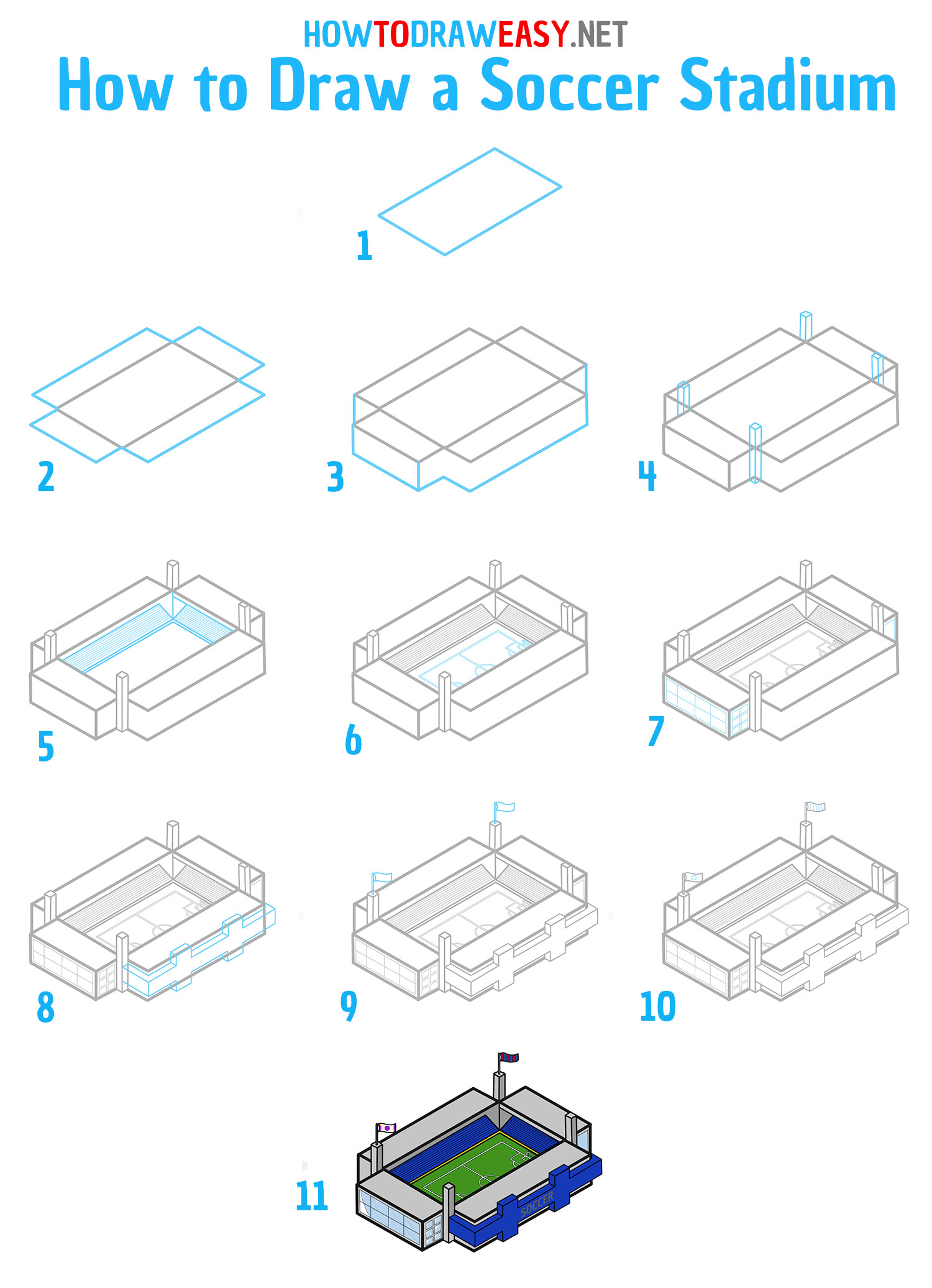 How to Draw a Stadium Step by Step