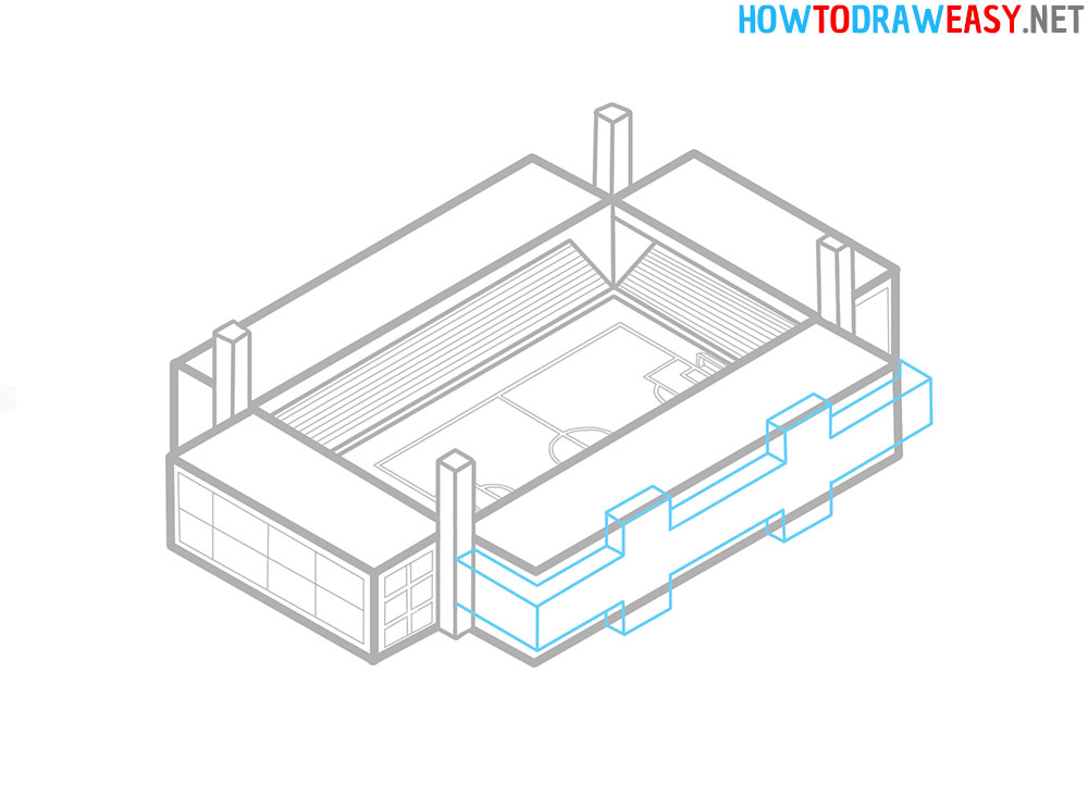 Soccer Stadium Step by Step Drawing