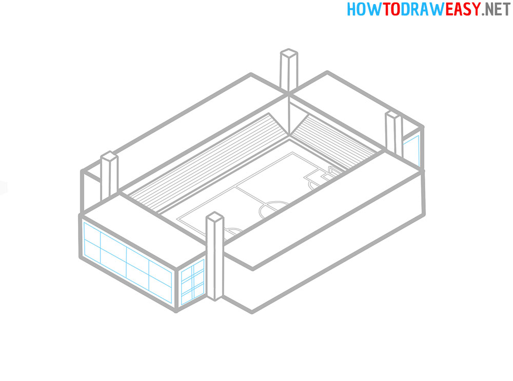 Soccer Stadium Step by Step Sketching