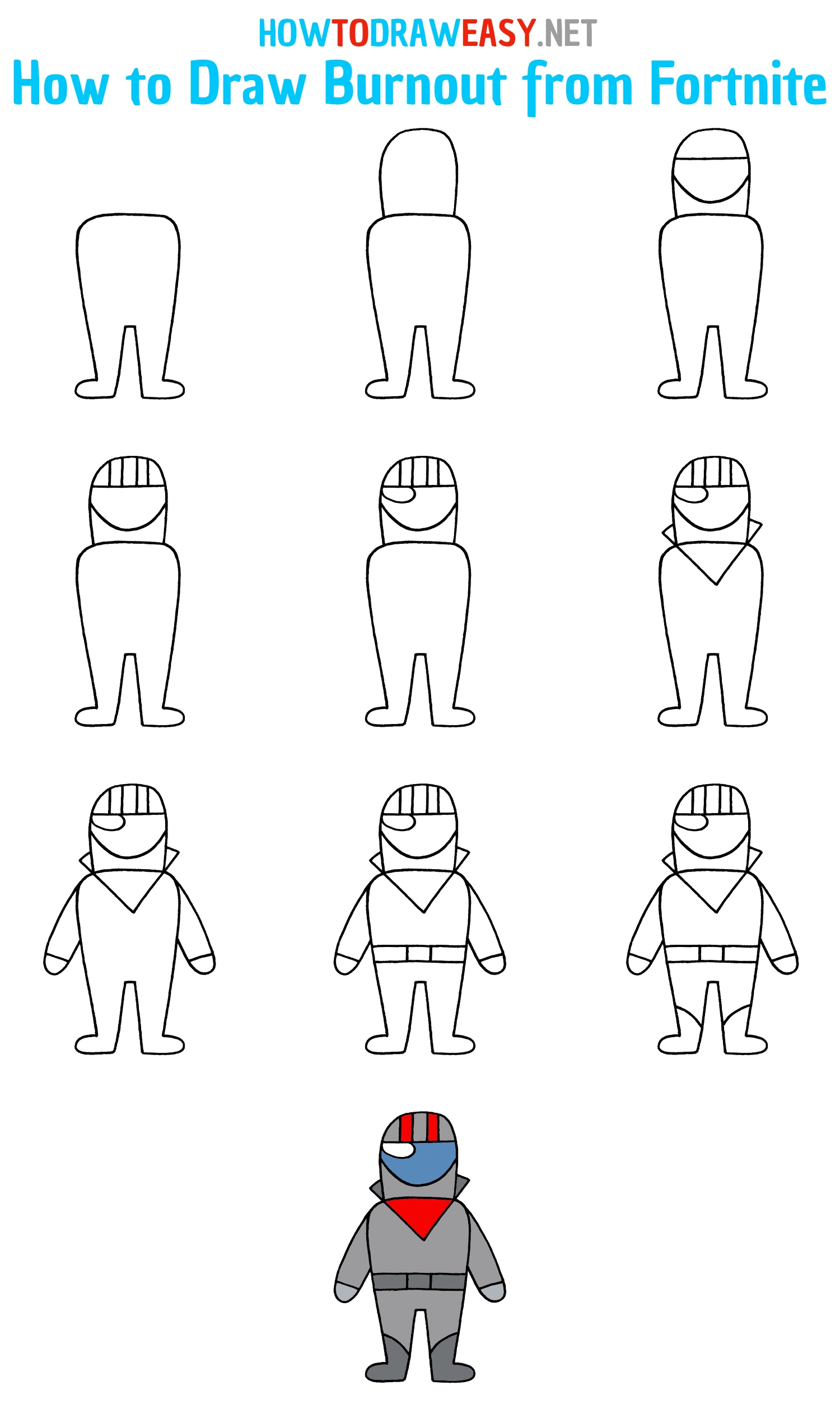 How to Draw Fortnite Character Step by Step