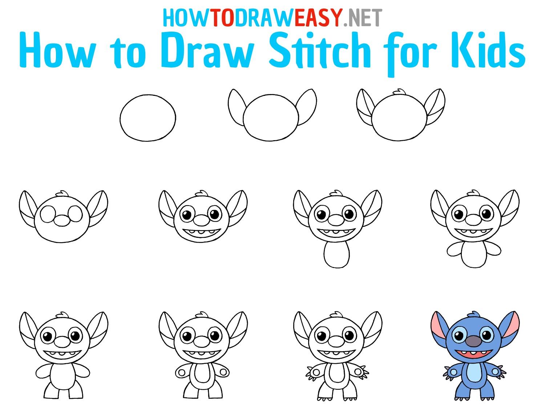 How to Draw Stitch Step by Step