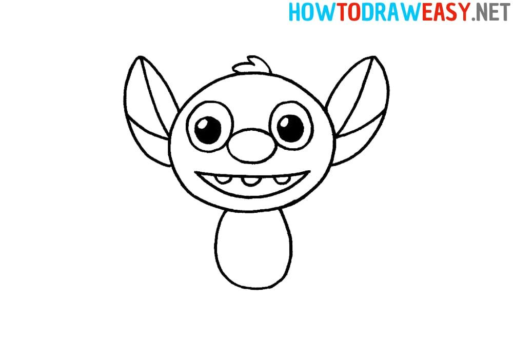how to draw stitch step by step easy