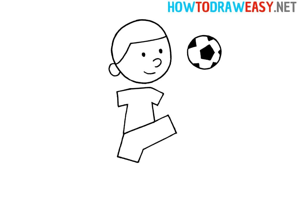 Footballer Easy Drawing