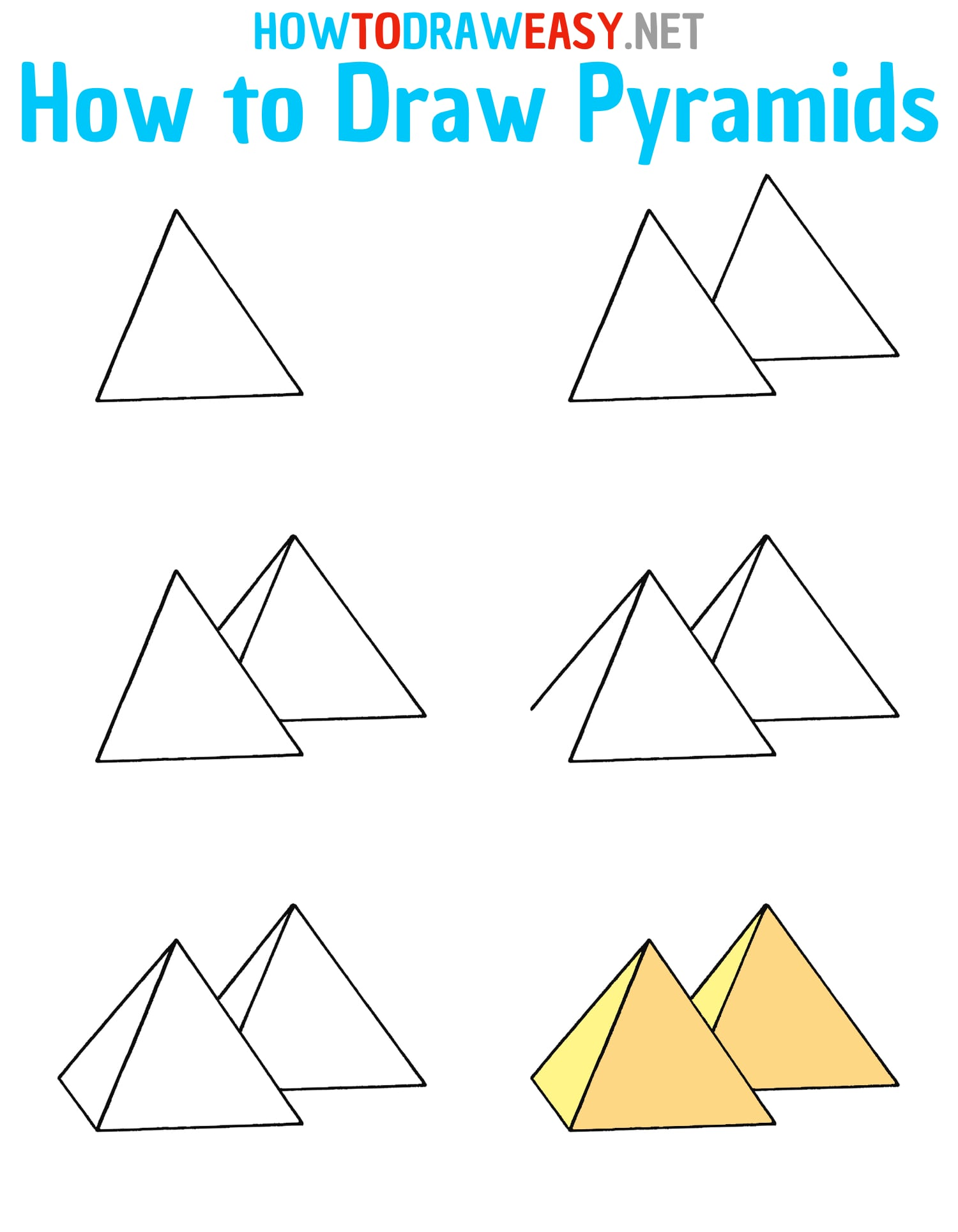 How to Draw Pyramids Step by Step