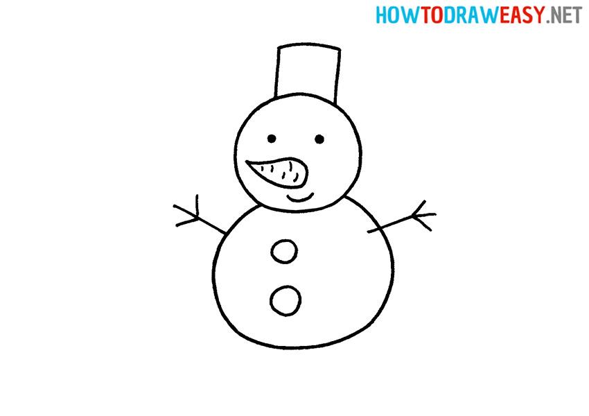 How to Draw a Cartoon Snowman