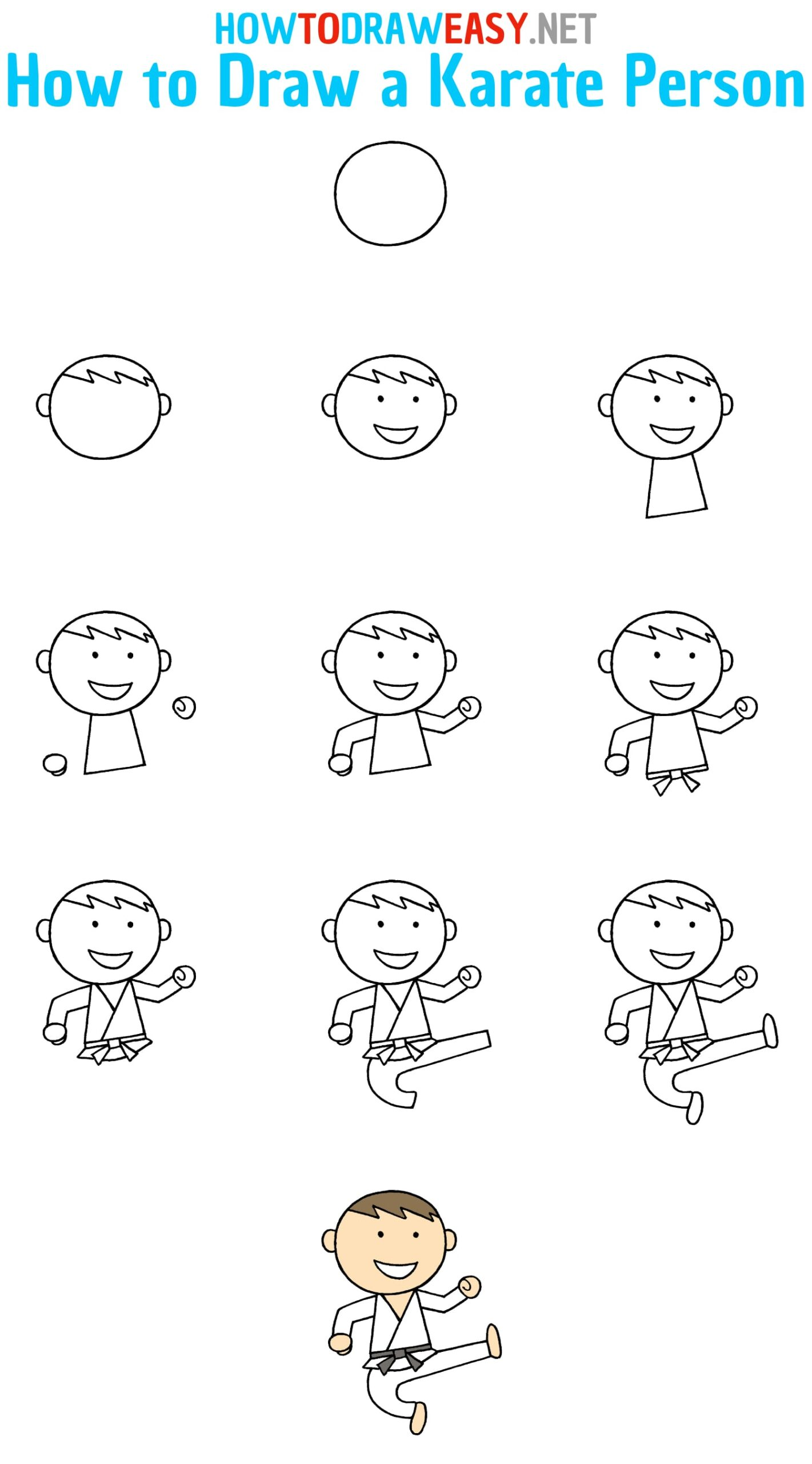 How to Draw a Karate Person Step by Step