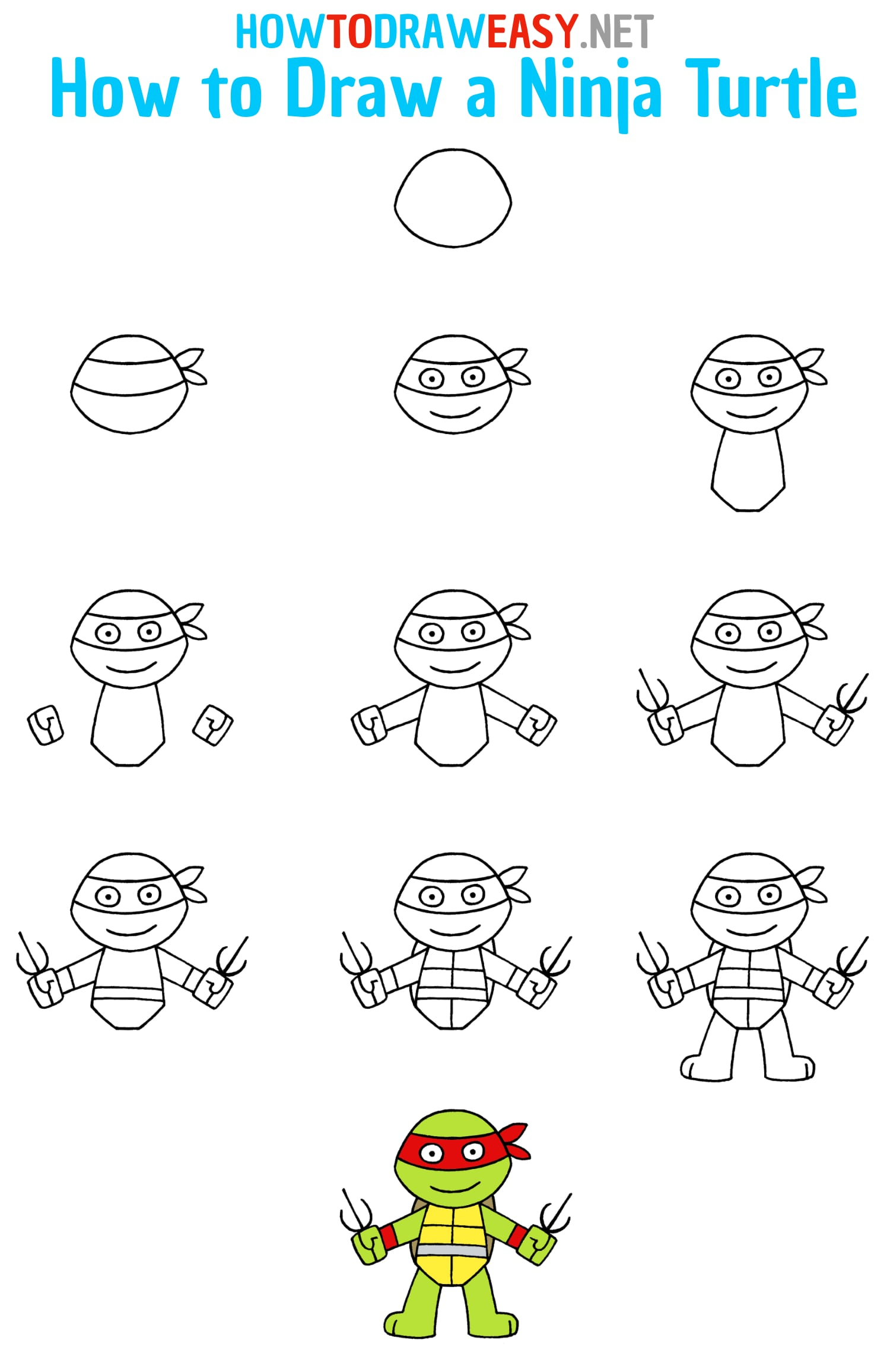 How to Draw a Ninja Turtle Step by Step