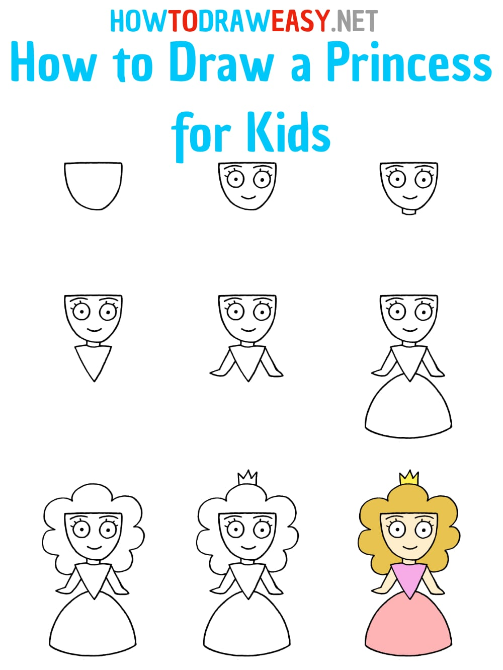 How to Draw a Princess for Kids Step by Step