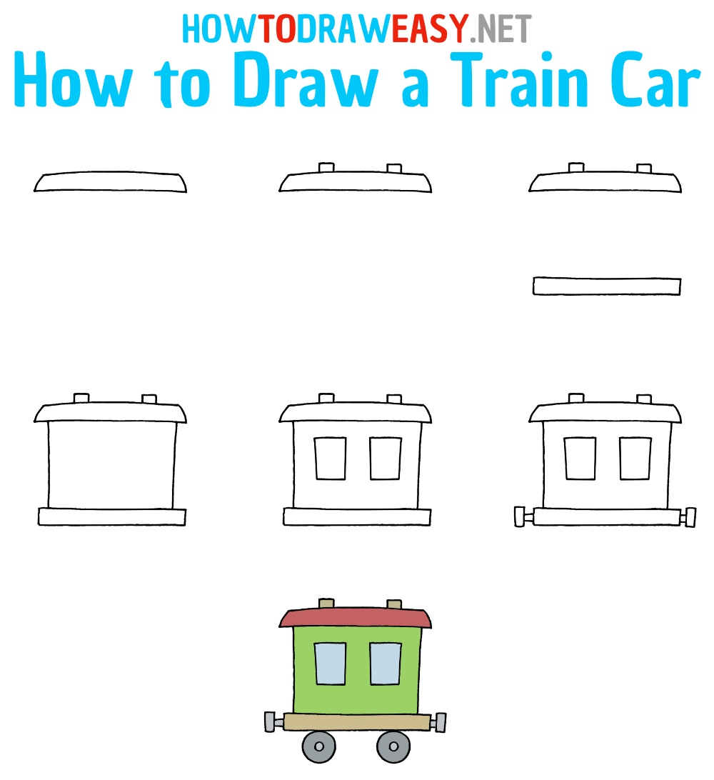 How to Draw a Train Car Step by Step