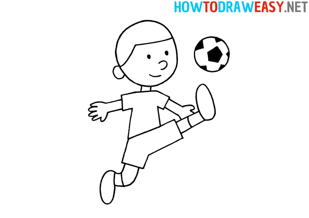 Soccer Player Step by Step Drawing