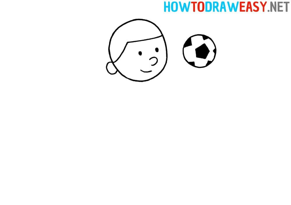 Step by Step Footballer Drawing